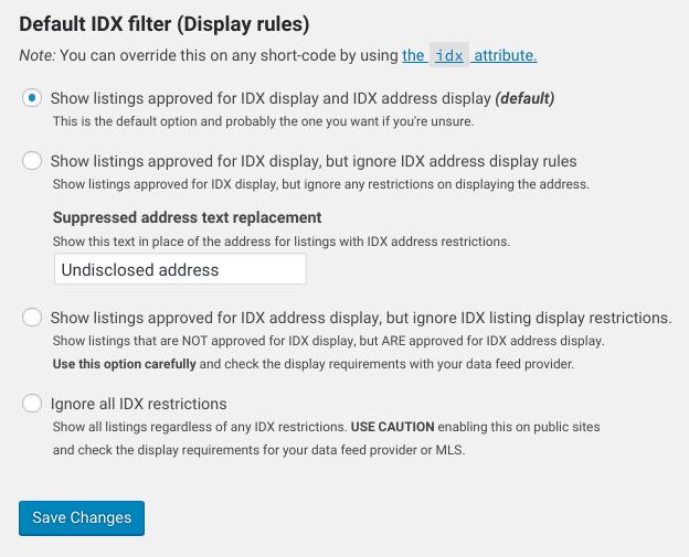 SimplyRETS default IDX filter