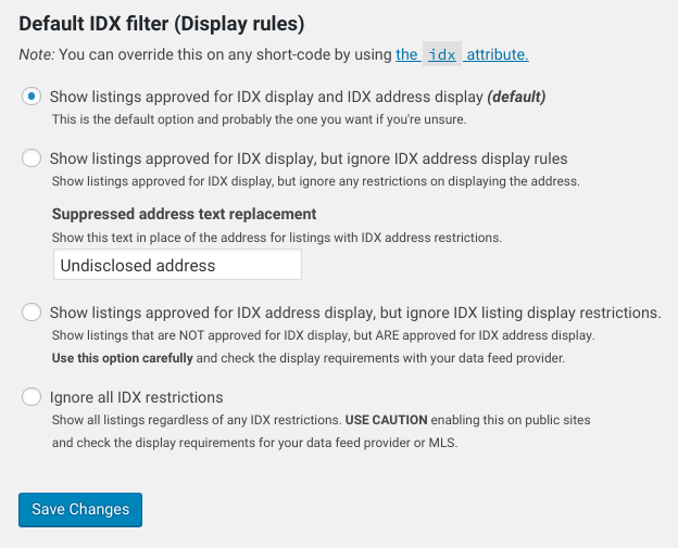 SimplyRETS default IDX filter